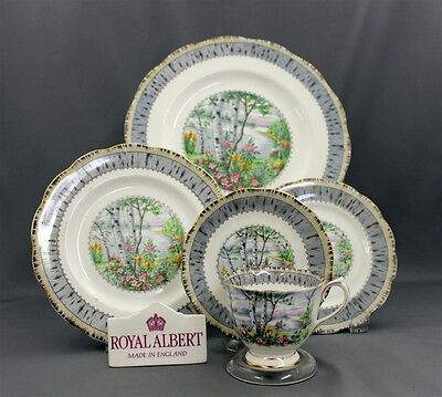 Royal Albert England Silver Birch Pattern Bone China 5 Piece Place Setting (s)
