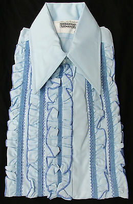 New Vintage Retro Blue Ruffle Front Tuxedo Shirt 1970's Disco Halloween Costume