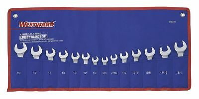 Westward 14-Piece Short Combination Wrench Set, SAE and Metric, Range of
