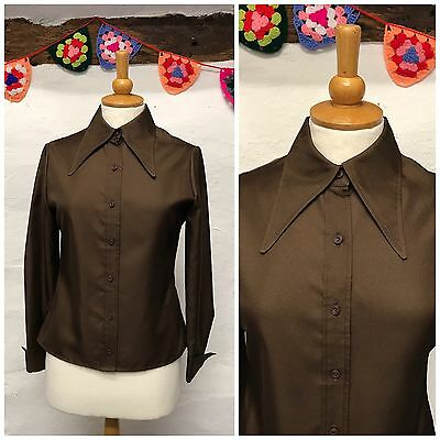 VINTAGE BLOUSE w/ AMAZING DAGGER COLLAR IN PLAIN BROWN 60s 70s SIZE 10 (VB298)