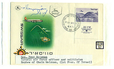 First Day Cover Signed By-Gen. Ezer Weizman Israeli Air Force Officer,Politician