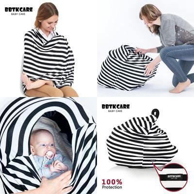 Stretchy Car Seat Canopy Cover Multi Use Set Nursing Cover Breastfeeding 3 in 1