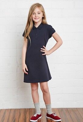 NWT Forever 21 Girls Navy Blue Polo Dress Sz 9-10 School Uniform 100% Cotton New