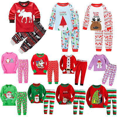 2Pcs Kids Boys Girls Xmas Pj's Sleepwear Nightwear Christmas Pajamas Sets 1-7Y