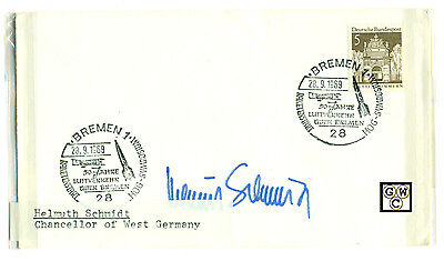First Day Cover Signed by - Helmuth Schmidt Chancellor of West Germany.