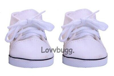 """White Sneakers For American Girl Boy 18"""" 18 inch Doll Gym Shoes Accessory LOVV"""