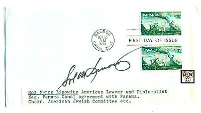 First Day Cover Signed by - Sol Myron Linowitz an American Lawyer & Diplomatist