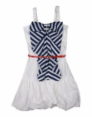 Miss Grant White Dress with Navy and White Stipes Girls Size 12