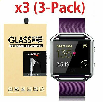 3-Pack Premium Real Tempered Glass Screen Protector For Fitbit Blaze Smart Watch