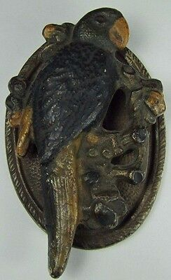 Antique Cast Iron Parrot Door Knocker Small Interior Orig Old Painted Surface