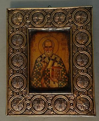 Vintage Russian Orthodox Saint Nicholas Icon Framed