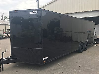 NEW 2018 8.5X24 V-NOSE ENCLOSED CARGO CAR HAULER 5200lb AXLES, Blackout Package