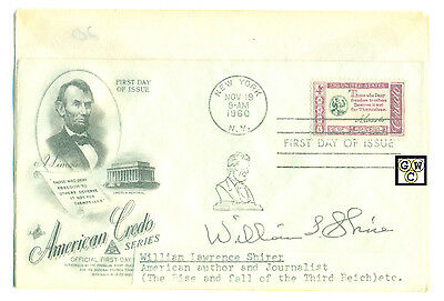 First Day Cover Signed by - William Lawrence Shirer American Author & Journalist