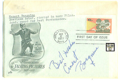 First Day Cover Signed by - Ernest Borgnine an American Actor