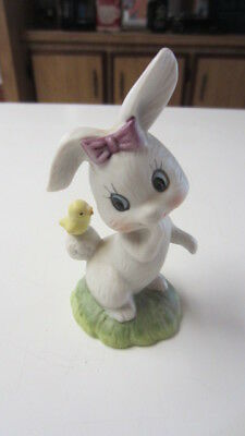 Vintage Bisque Rabbit with Chick on Its Tail Figurine, 4 1/4 in. Tall
