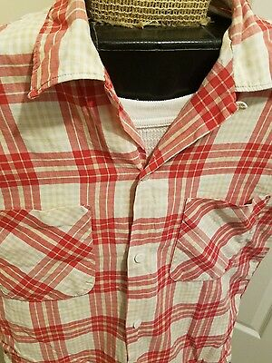 Vintage 1950s Pennleigh Loop Collar Plaid Shirt