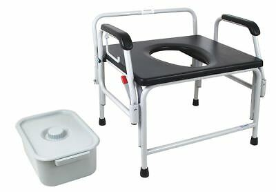 Stationary Bariatric Commode Chair with 600 lbs Maximum Weight, Black - 5XTD9