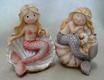 Mermaid Girl in Shell (set of two)