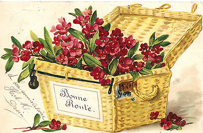 Pink Flowers in Wicker Basket Antique Vintage EARLY French Postcard
