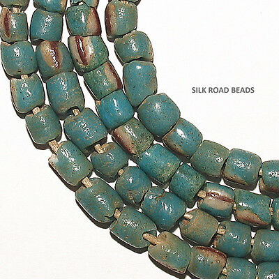 32 old sand cast turquoise striped small glass beads ghana african trade #18