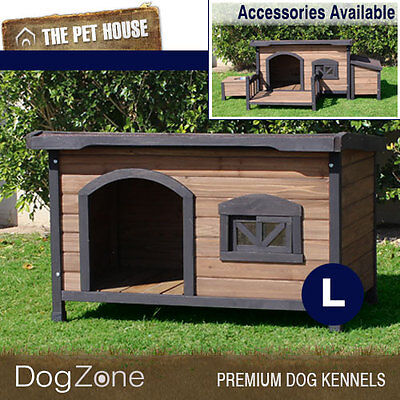 NEW Brunswick Large Flat Roof Wooden Dog House Wood Timber Kennel