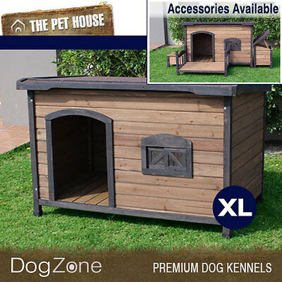 NEW Brunswick Extra Large Flat Roof Wooden Dog House Wood Timber XL Kennel
