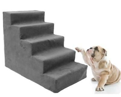 5 Steps Dog Stairs Animal Cat Ramp Ladder for Puppy Senior Pet with Fleece Cover