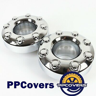 05-16 Ford F350 F-350 DUALLY FRONT 4X4 OPEN Chrome Wheel Center Hub Caps 2 Piece