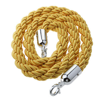 Yellow Queue Rope Barrier Twisted Rope Crowd Control with Silver Ends 1.5m