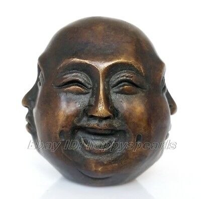 Details about antique excellent old bronze carved statue 4 face Mood Buddha 6cm
