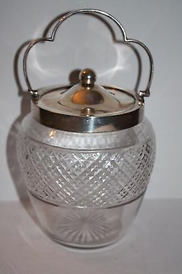 Walker & Hall Cut Glass and Silver  Biscuit Jar