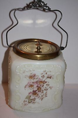 Victorian Milk Glass and Brass Painted Floral Biscuit Jar 1860-1912