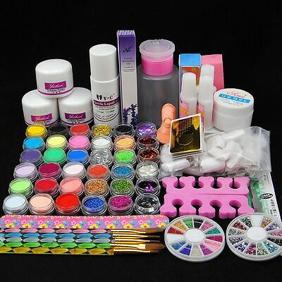 Nail Art Kit Acrylic Powder Glitter Liquid Nail Art Tips Brush UV Gel Primer Set