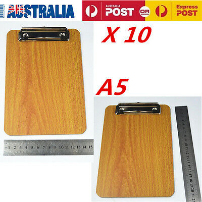 10X Wooden Clipboard Hardboard Menu Board Flat Clip For Office Home School A5 OZ