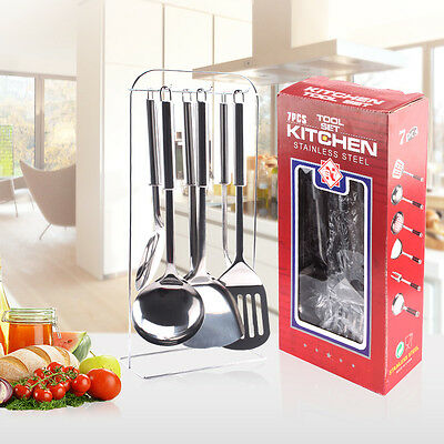 7PCS Stainless Steel Utensil Set Kitchen Cooking Tools Spoon Spatula Ladle #EB99