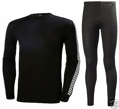 Helly Hansen HH® Dry Large Black Underwear Stripe Crew Top & Pant Baselayer