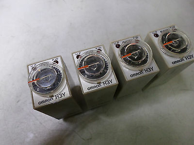 OMRON SOLID STATE TIMER - Qty of 4 - 12DC coil 4PDT - 0..5 Secong adjust - H3Y-4