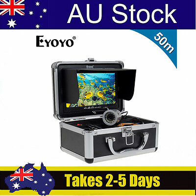 """50m Silver 1000TVL Fish Finder Underwater Fishing Video Cam 7"""" TFT Color LCD BS9"""
