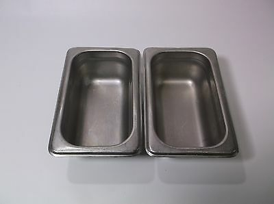 Lot of (2) Ninth Pans 2in deep Stainless Steel Pro Quality Steam/Cold Table Pan