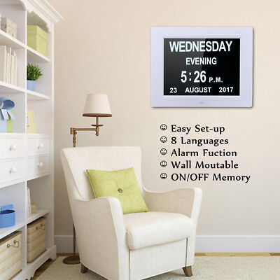 8'' LED Dementia Digital Calendar Day Clock Extra Large Day/Week/Month/Year