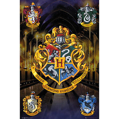 Harry Potter Crests Maxi Poster Wall Picture Gryffindor Slytherin Official
