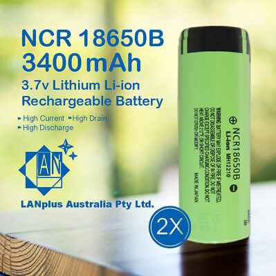 2x NCR 18650B Rechargeable Battery 3400mAh 3.7v Lithium Li-ion FlatToP