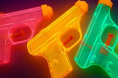 Old Photo.  Close-up of Water Pistols (Waterguns)