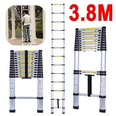 Portable 3.8m Telescope Telescopic Aluminium Ladder Alloy Extendable Steps AUS