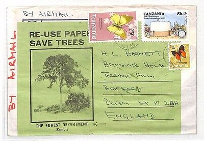 XX21 1980 TANZANIA CONSERVATION *Zambia Forest Dept* Air Cover SAVE TREES Label