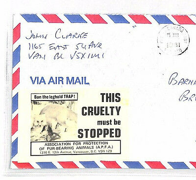 XX22 1981 CANADA CONSERVATION Cover *STOP ANIMAL CRUELTY* Anti-FUR TRADE Label