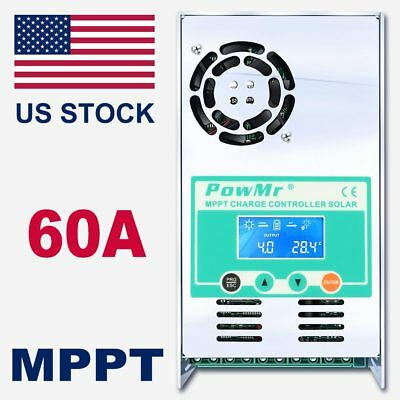 MPPT 60AMP Solar Charge Controller  For 12V 24V 36V 48V DC Battery Regulator