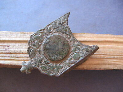 LARGE BELT BUCKLE ANCIENT CELTIC BRONZE WARRIORS DECORATION 300-100 B.C.50 mm
