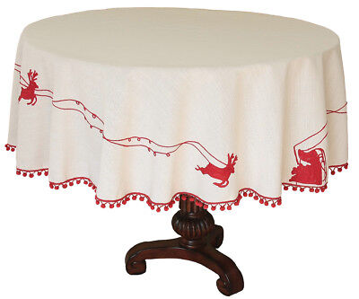 Xia Home Fashions Holiday Santa's Sleigh Tablecloth