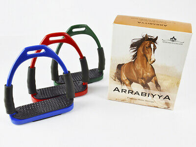 "Arrabiyya Horse Stirrups Stainless Steel 12 Colours sizes 3.75"" 4.0"" 4.5"" 4.75"""